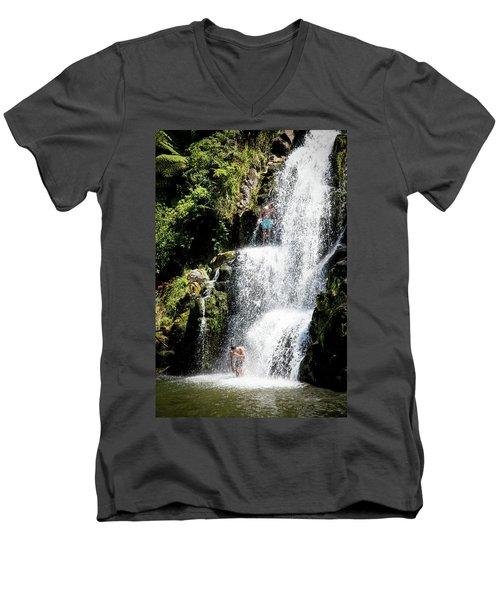 Waterfall In New Zealand Men's V-Neck T-Shirt