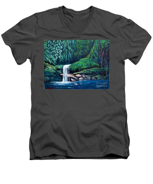 Waterfall In The Forest Men's V-Neck T-Shirt