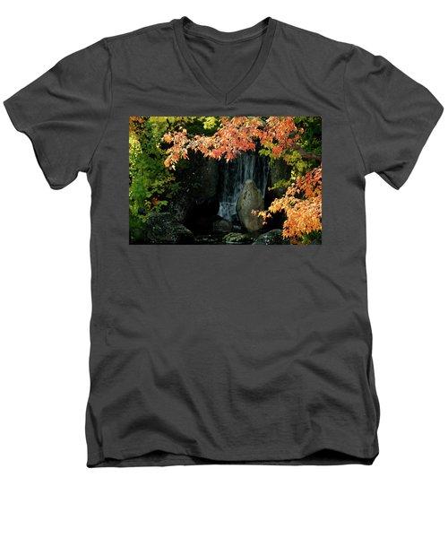 Waterfall In The Garden Men's V-Neck T-Shirt
