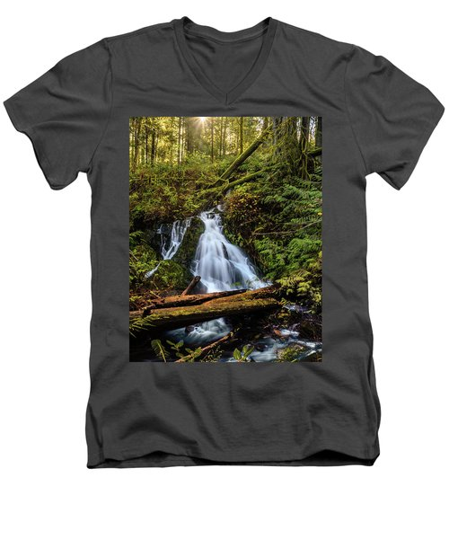 Waterfall Men's V-Neck T-Shirt by Keith Boone