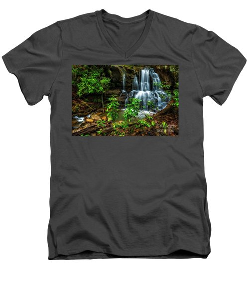Men's V-Neck T-Shirt featuring the photograph Waterfall On Back Fork by Thomas R Fletcher