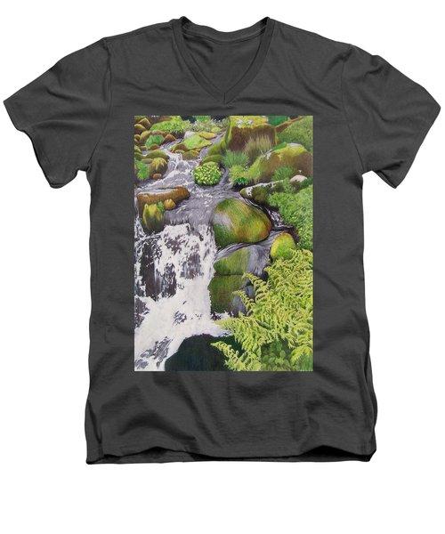 Waterfall On Skye Men's V-Neck T-Shirt