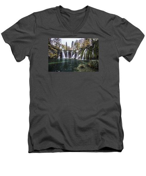 Waterfalls In Croatia Men's V-Neck T-Shirt