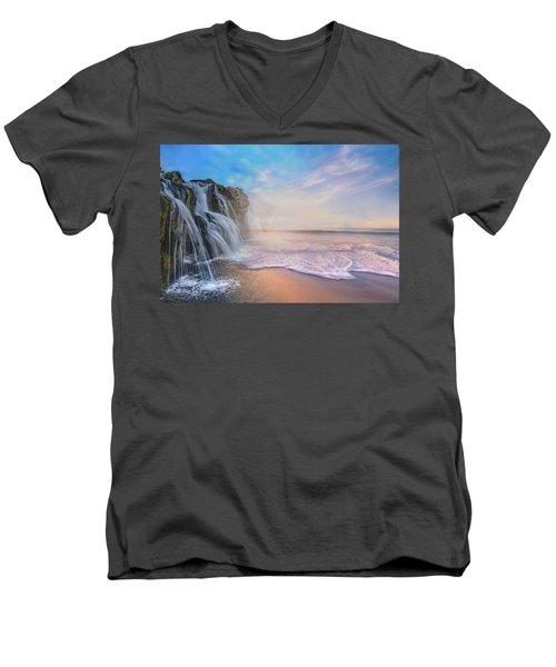 Waterfalls Into The Ocean Men's V-Neck T-Shirt