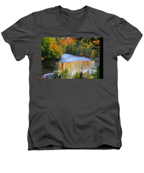 Waterfalls Of Michigan Men's V-Neck T-Shirt by Michael Rucker
