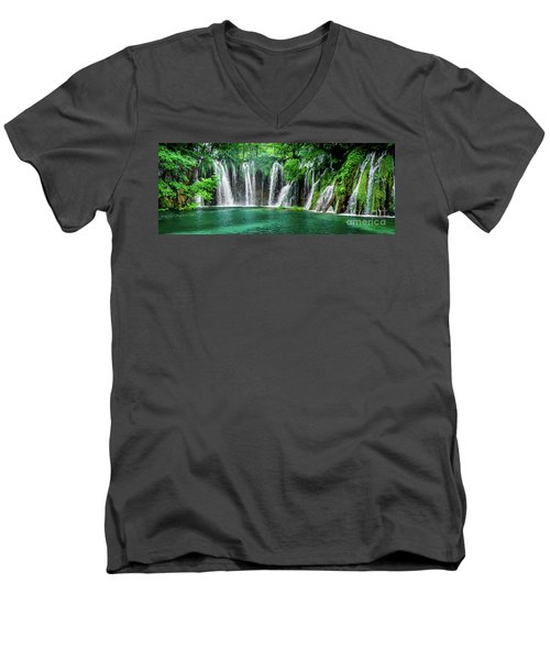 Waterfalls Panorama - Plitvice Lakes National Park Croatia Men's V-Neck T-Shirt