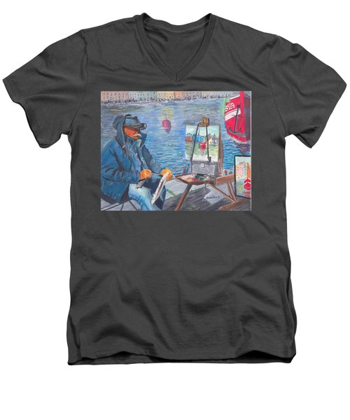 Men's V-Neck T-Shirt featuring the painting Waterfront Artist by Quwatha Valentine