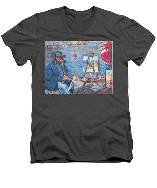 Waterfront Artist Men's V-Neck T-Shirt by Quwatha Valentine