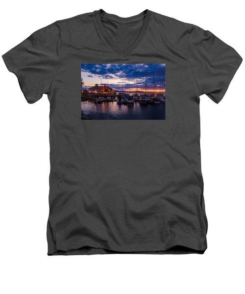 Waterfront Summer Sunset Men's V-Neck T-Shirt