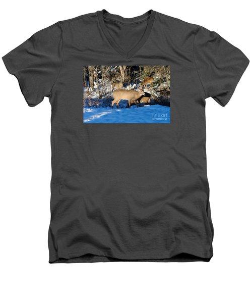 Waterhole Gathering Men's V-Neck T-Shirt by Sandra Updyke