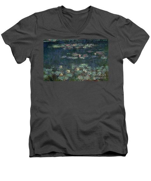 Waterlilies Green Reflections Men's V-Neck T-Shirt
