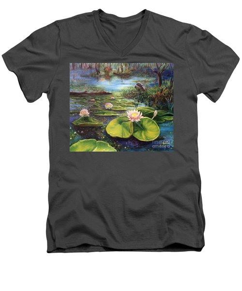 Men's V-Neck T-Shirt featuring the painting Waterlilies by Renate Nadi Wesley