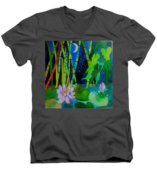 Waterlillies At Midnight Men's V-Neck T-Shirt