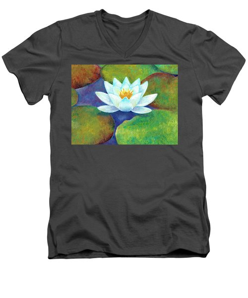 Men's V-Neck T-Shirt featuring the painting Waterlily by Elizabeth Lock