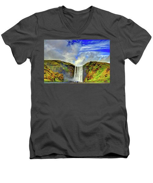 Men's V-Neck T-Shirt featuring the photograph Watermall And Mist by Scott Mahon