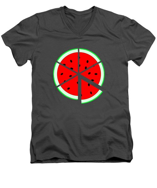 Watermelon Wedge Men's V-Neck T-Shirt by Susan Eileen Evans