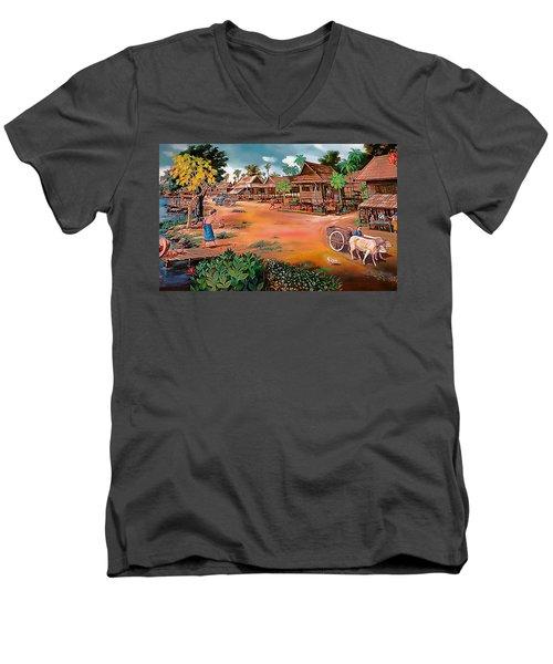 Waterside Town Community Men's V-Neck T-Shirt by Ian Gledhill