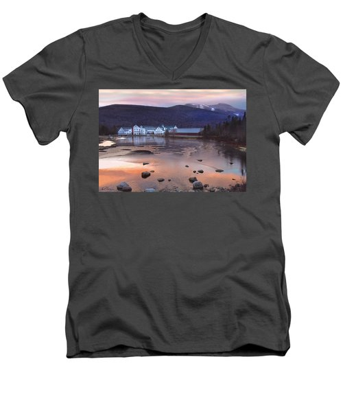 Waterville Valley Sunset Men's V-Neck T-Shirt by Nancy Griswold