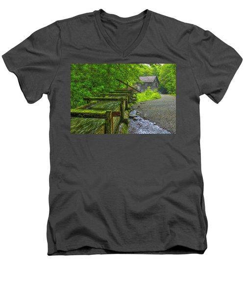 Men's V-Neck T-Shirt featuring the photograph Waterworks Mingus Mill Mingus Creek Art  Great Smoky Mountains Art by Reid Callaway
