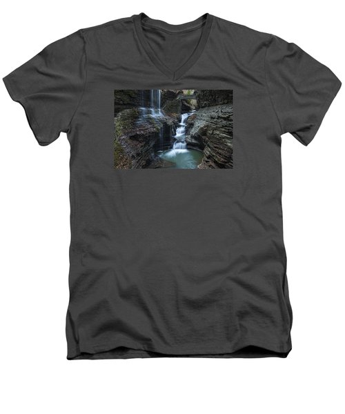 Watkins Glen Rainbow Falls Men's V-Neck T-Shirt