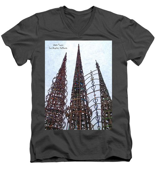 Men's V-Neck T-Shirt featuring the photograph Watts Towers 2 - Los Angeles by Glenn McCarthy Art and Photography