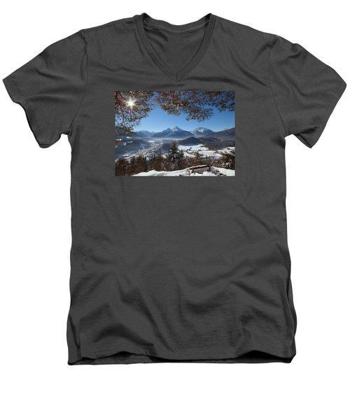 Watzmann Panorama 1 Men's V-Neck T-Shirt by Rudi Prott