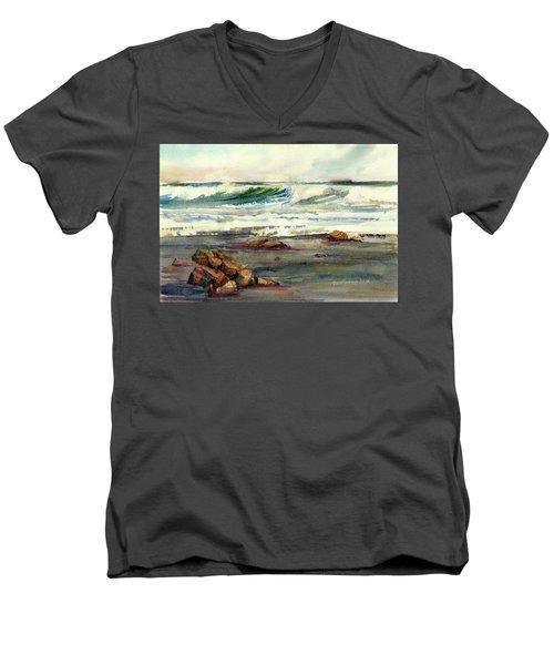 Wave Action Men's V-Neck T-Shirt by P Anthony Visco