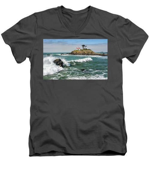 Wave Break And The Lighthouse Men's V-Neck T-Shirt by Greg Nyquist