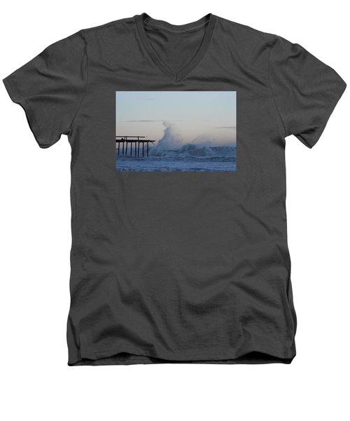 Wave Towers Over Oc Fishing Pier Men's V-Neck T-Shirt by Robert Banach