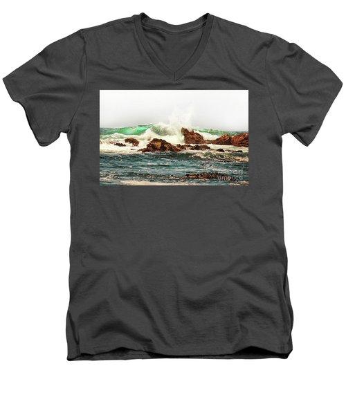 Waves Against The Rocks In Pacific Grove California Men's V-Neck T-Shirt
