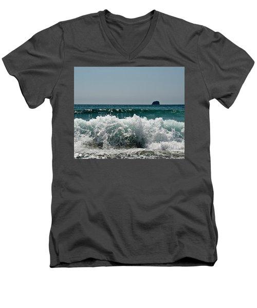 Waves Of Pacific Ocean. Coromandel,new Zealand Men's V-Neck T-Shirt by Yurix Sardinelly