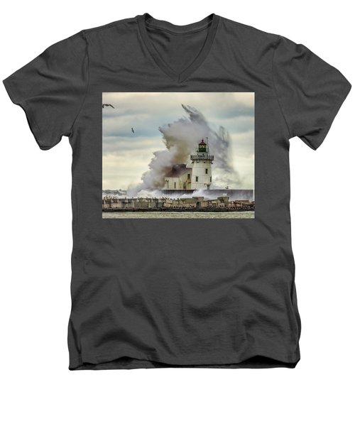 Waves Over The Lighthouse In Cleveland. Men's V-Neck T-Shirt
