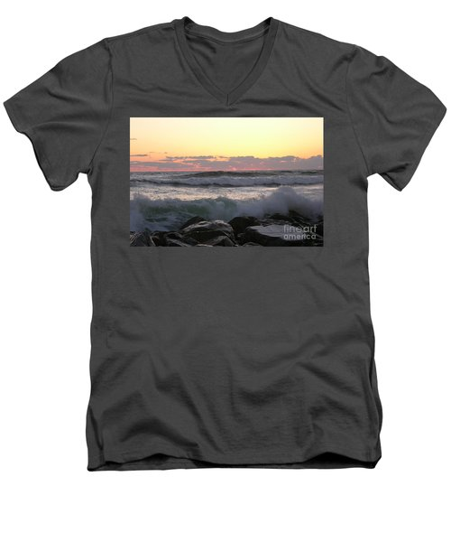 Waves Over The Rocks  5-3-15 Men's V-Neck T-Shirt