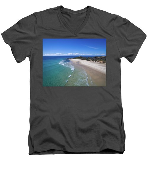 Waves Rolling In To North Point Beach On Moreton Island Men's V-Neck T-Shirt
