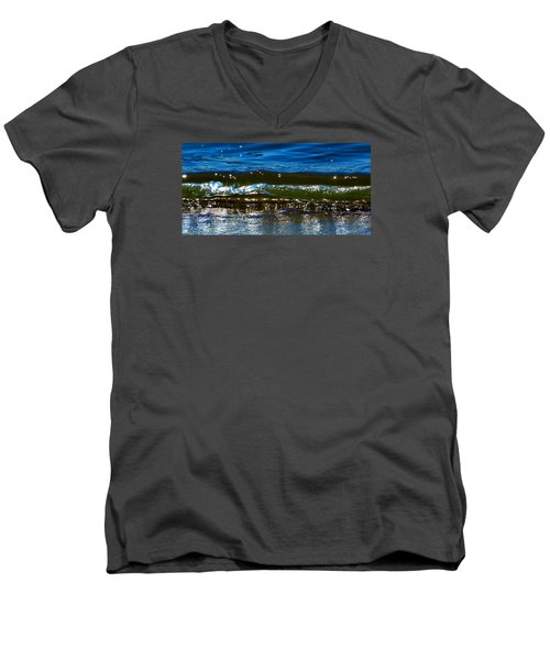 Men's V-Neck T-Shirt featuring the photograph Waves Water Light 2  by Lyle Crump