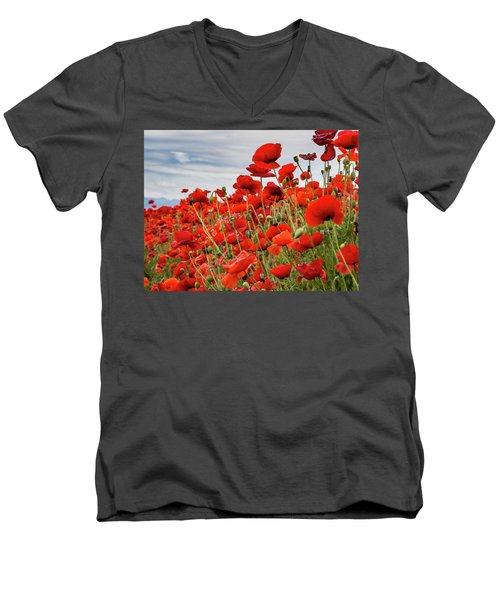 Waving Red Poppies Men's V-Neck T-Shirt by Jean Noren