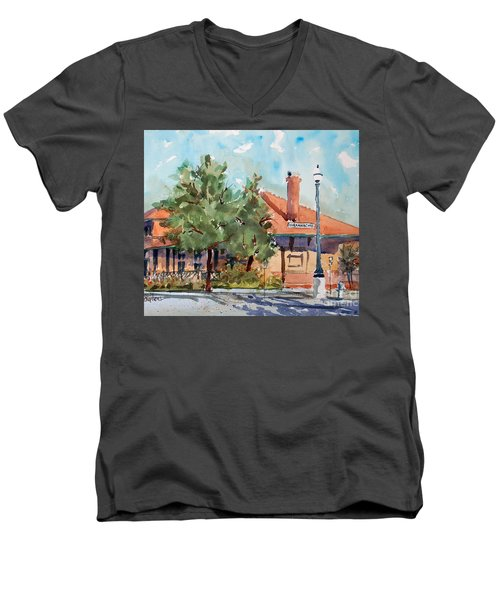 Waxachie Train Station Men's V-Neck T-Shirt by Ron Stephens