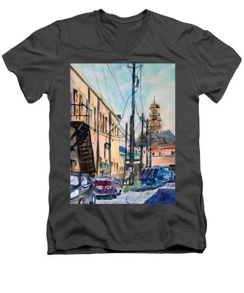 Waxahachie Back Alley Men's V-Neck T-Shirt by Ron Stephens
