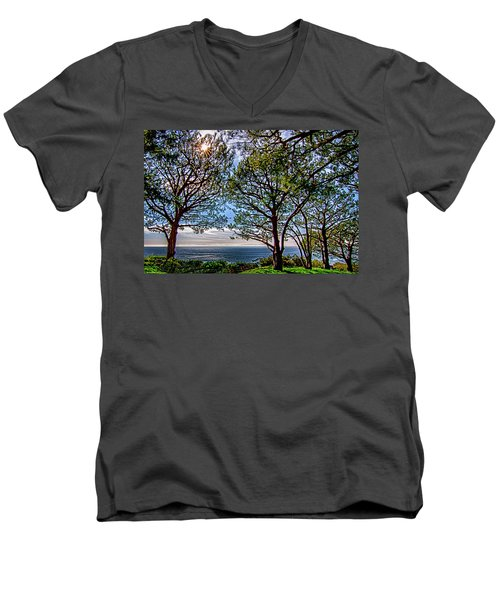 Wayfarer's  Ocean View Men's V-Neck T-Shirt by Joseph Hollingsworth