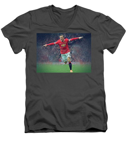 Wayne Rooney Men's V-Neck T-Shirt by Semih Yurdabak