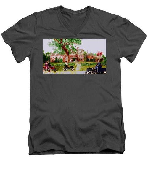 Wayside Inn With Autos Men's V-Neck T-Shirt