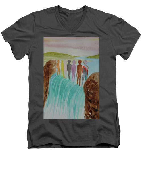 Men's V-Neck T-Shirt featuring the painting We Are All The Same 1.2 by Tim Mullaney