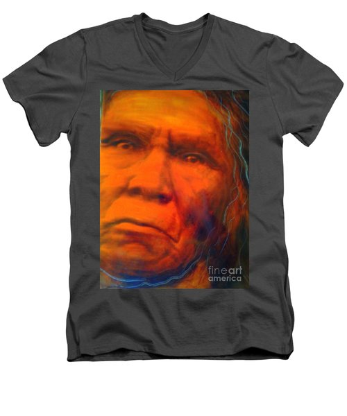 Men's V-Neck T-Shirt featuring the painting We Are First Nation by FeatherStone Studio Julie A Miller