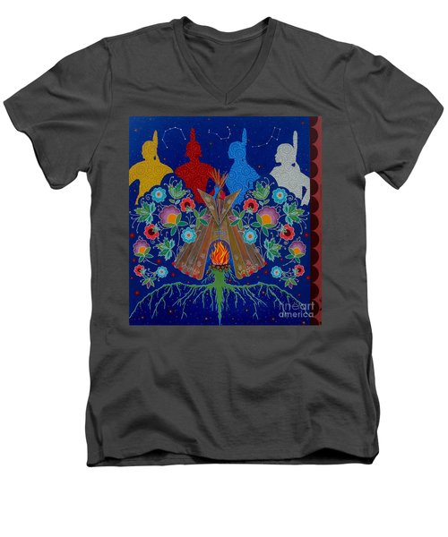 Men's V-Neck T-Shirt featuring the painting We Are One Bond by Chholing Taha