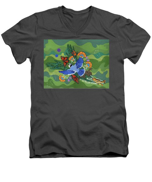 Men's V-Neck T-Shirt featuring the painting We Are One by Chholing Taha
