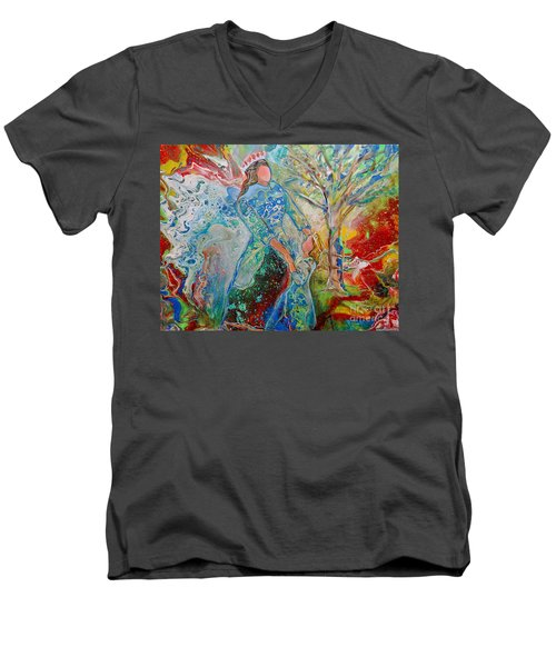 Men's V-Neck T-Shirt featuring the painting We Are Royalty by Deborah Nell