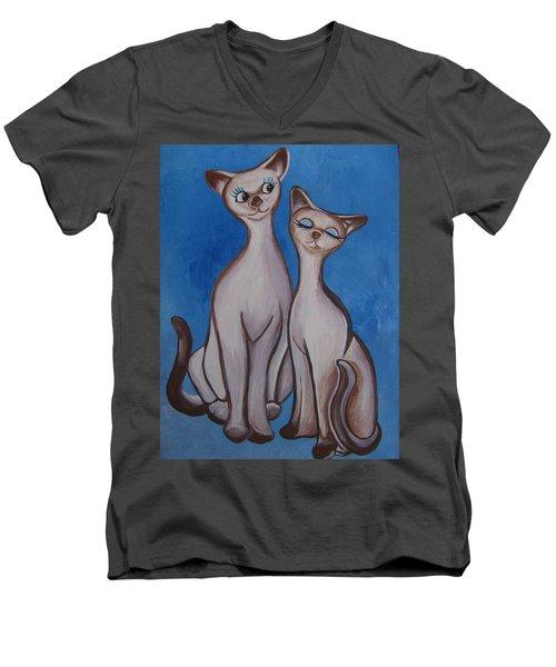We Are Siamese Men's V-Neck T-Shirt by Leslie Manley
