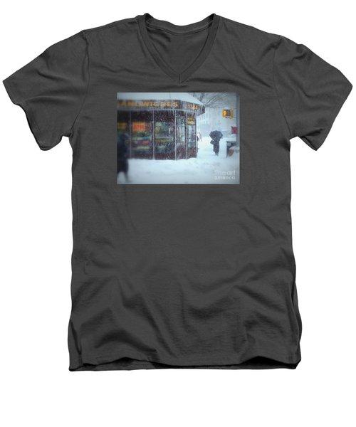 We Sell Flowers - Winter In New York Men's V-Neck T-Shirt by Miriam Danar