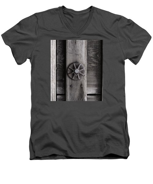 Weathered Wood And Metal Three Men's V-Neck T-Shirt by Kandy Hurley