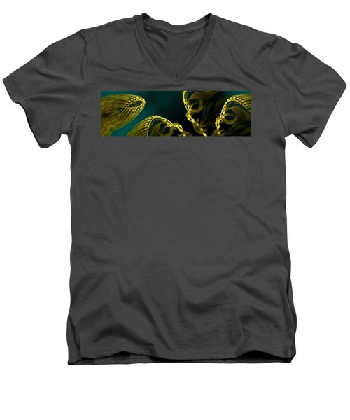 Men's V-Neck T-Shirt featuring the digital art Weed 1 by Ron Bissett